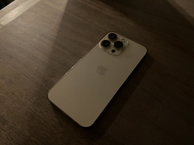 The back of the iPhone 13 Pro, photographed in low light with the iPhone 13 Pro Max's Night Mode.